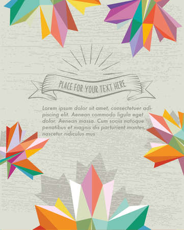 fall background: fall background with vintage sign and colorful polygonal maple leaf