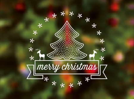 streckbilder: line art vektor jul skylt på suddig festlig bakgrund