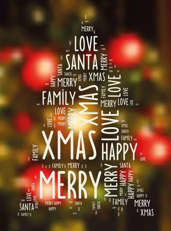 streckbilder: line art text christmas sign on blurred festive background Illustration