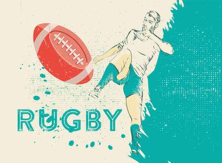 soccer field: vintage rugby player Illustration