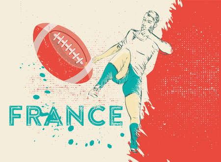 soccer field: France rugby player illustration