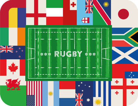 ticket icon: rugby stadium with international flags