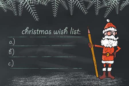 wish list: santa claus holding pen on chalkboard with Wish List Illustration