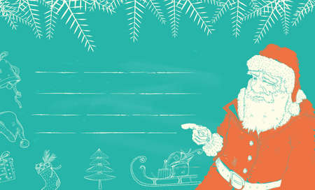 wish list: santa claus finger poiting to Christmas Wish List Illustration