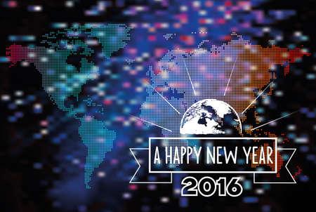 sparkler: New yearned year 2016 line symbol on blurred vibrant sparkler background