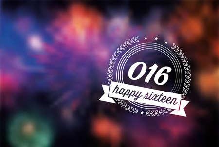 sparkler: New Year 2016 line label on blurred vibrant sparkler background