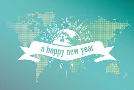 simbolo de la paz: vintage new years line art icon on blue world map