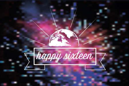 sparkler: vintage new year text symbol on blurred vibrant sparkler Illustration