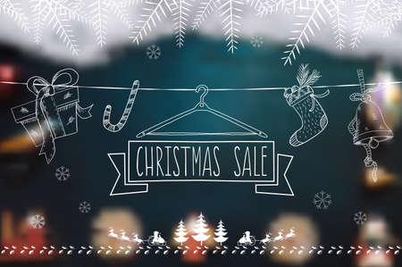 badge vector: Christmas Sale line symbol on blurred background Illustration