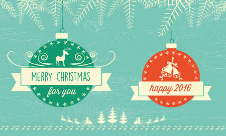 fondo verde azul: christmas illustration with balls on blue green background