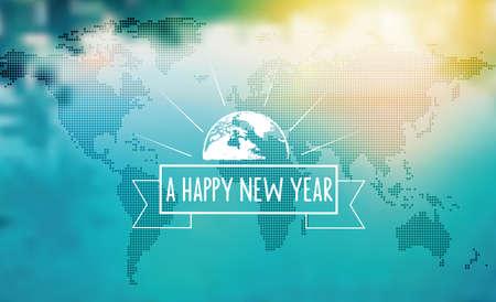 mapa mundi: Vintage New Year sign on blurred world map