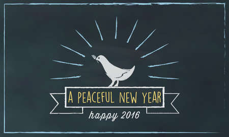 sign board: white dove symbol with 2016 text on chalk board Illustration