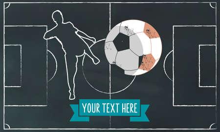 soccer field: soccer chalk illustration on blackboard. banner with football player Illustration
