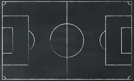 soccer field: soccer field chalk on blackboard illustration