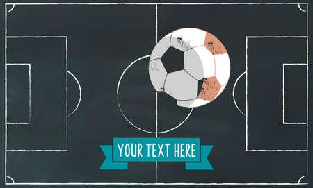 soccer field: soccer chalk on blackboard illustration banner with football