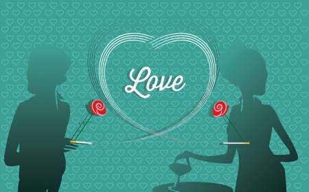 date: Love card and Blind Date Illustration