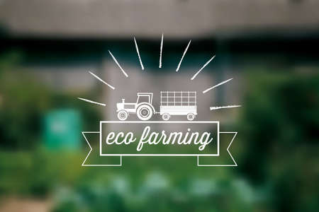 organic background: Eco Farm background with tractor and ribbon for text
