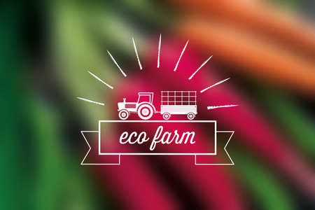 small people: Eco Farm background with tractor and ribbon for text