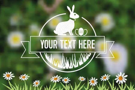 estampilla: line art easter bunny symbol on green blurred spring meadow