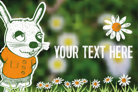 timbre postal: bunny cartoon on blurred spring background and copyspace Vectores