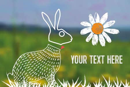 timbre postal: l�nea arte ciclismo s�mbolo de conejo de Pascua en el fondo borroso Vectores