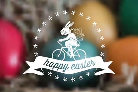 stamp: line art biking easter bunny symbol on blurred background