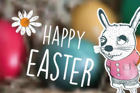 timbre postal: Feliz de dibujos animados conejo de Pascua con el texto en el fondo borrosa
