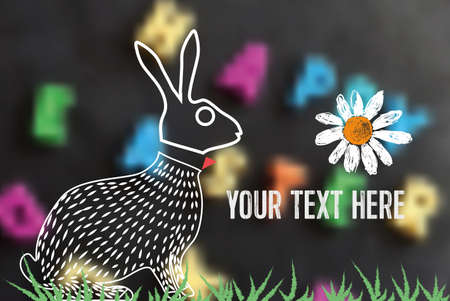 timbre postal: line art easter bunny on blurred calk board with text