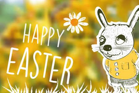 timbre postal: Feliz de dibujos animados conejo de Pascua con el texto en el fondo borrosa primavera