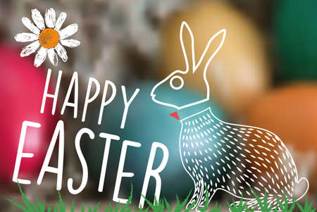 timbre postal: line art easter bunny on green blurred background eggs