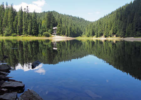The mountain lake Synevyr in the Ukrainian Carpathians, the National park of the same name