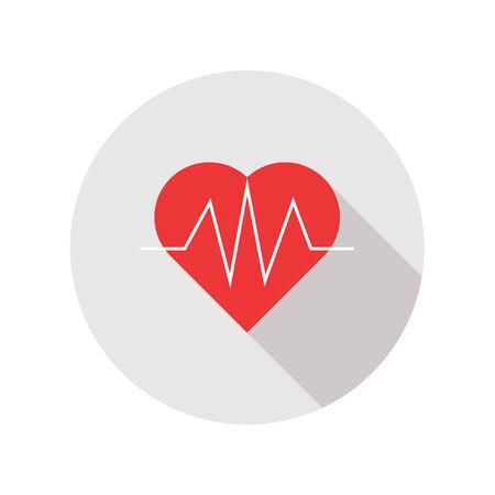 heart beat: heart beat flat icon with long shadow. Illustration