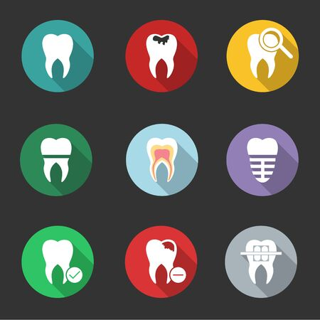 New tooth, teeth. Set modern design flat icons with long shadows.illustration.