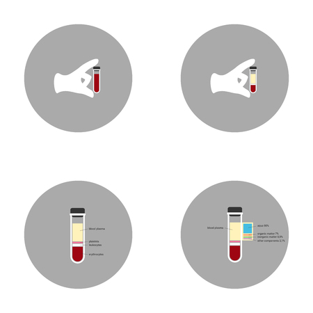 phlebotomy: blood in test tubes icons modern flat design