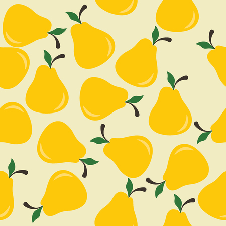 manner: Seamless background with yellow pears, arranged in a chaotic manner.