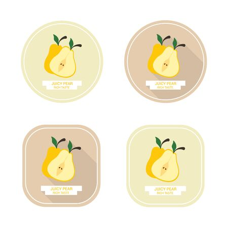 juicy: Icons juicy yellow pear with long shadows. Design stickers with ripe juicy pear for the company in vector format.