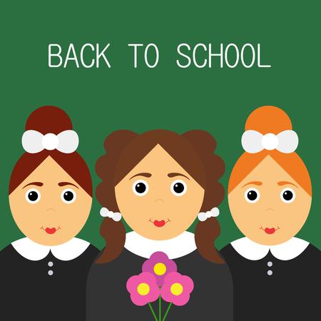 schoolgirls: Schoolgirls happy. Back to school. Funny cartoon character. Vector illustration of a flat design.