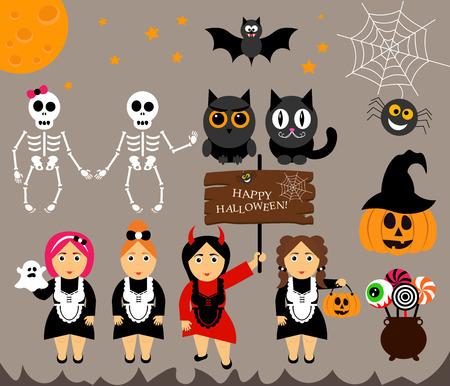 calabaza caricatura: Conjunto de vectores personajes para Halloween en estilo moderno de dibujos animados. Calabaza, fantasma, caramelo, caldero, gato, búho, luna, murciélago y otros elementos tradicionales de Halloween. Chica en trajes para Halloween. Vectores