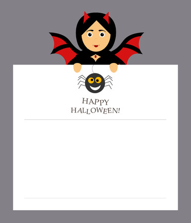 The girl bat vampire is holding a notepad sheet for the entries. Modern flat design. Spider, inscription happy Halloween. Illustration