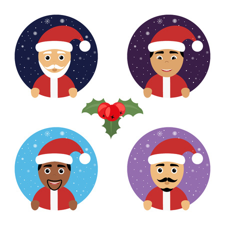 nationalities: Set round vector icon Christmas New Year with Santa Claus different nationalities.
