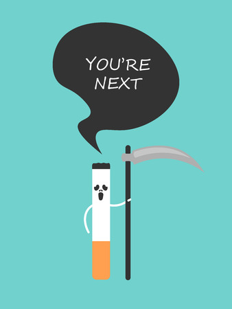guadaña: The poster against smoking. Cigarette with a scythe like death.