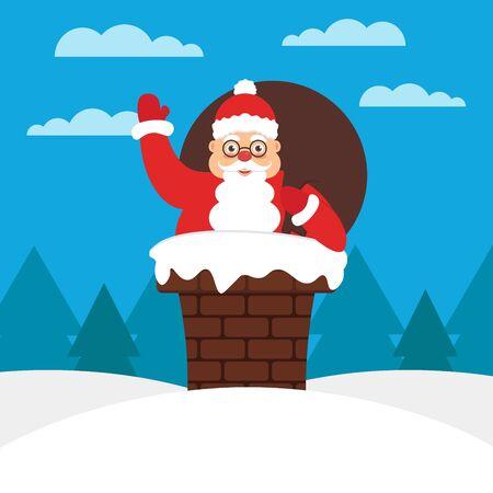 belt up: Santa with gift bag in chimney on the roof. Modern flat illustration.