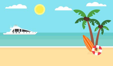 Summer background - sunset beach. Sea, yacht and a palm tree. Modern flat design.