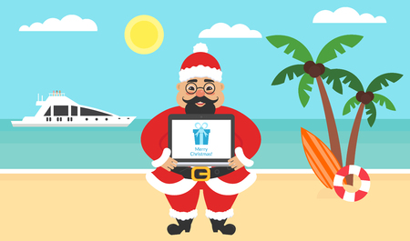 Summer background - sunny beach. Sea, yacht,palm tree and cute asian santa. Computer with congratulations for Merry Christmas and New Year. Vector flat illustration.
