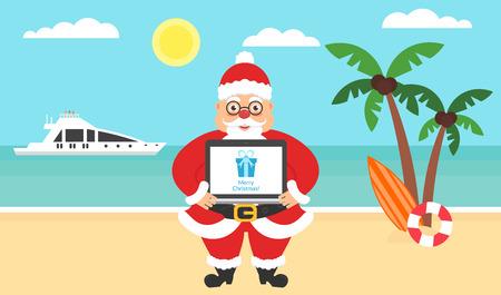 여름 배경 - 써니 비치입니다. 메리 크리스마스와 새 해 축 하와 함께 컴퓨터입니다. 바다, 요트, 야자수와 귀여운 산타. 벡터 플랫 그림입니다. 스톡 콘텐츠 - 68804489