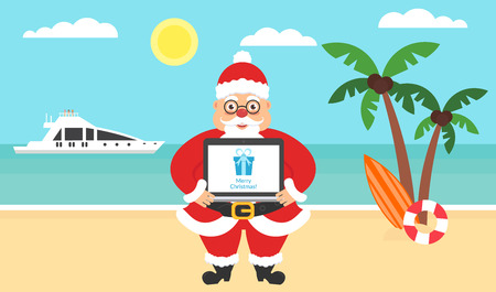 Summer background - sunny beach. Computer with congratulations for Merry Christmas and New Year. Sea, yacht,palm tree and cute santa. Vector flat illustration.