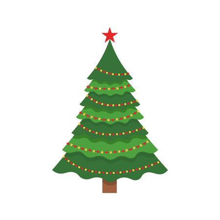 Hermoso elegante árbol de Navidad verde. Guirnalda multicolor Ilustración de vector sobre fondo blanco. Diseño plano moderno.