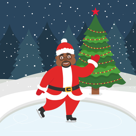 Happy new year and merry Christmas. Greeting card with christmas tree. Beautiful African american Santa skating on the winter ice-skating rink. Vector illustration.