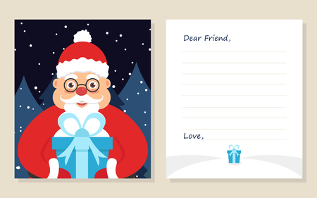 Template greeting card new years or merry christmas letter to template greeting card new years or merry christmas letter to dear friend cute santa in spiritdancerdesigns Gallery