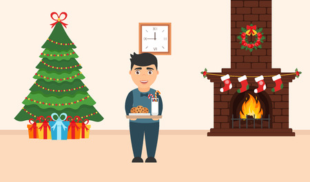 Festive design of the room. Brick fireplace, Christmas wreath, milk and cookies for cute Santa, festive decorated tree,gifts and boy. Vector in flat style. Merry Christmas and Happy New year.